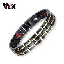 Vnox moda 2016 pulsera magnética de la salud hombres joyería negro y oro plateado brazaletes de metal de acero inoxidable
