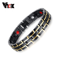 Newest Health Magnetic Bracelet Men Jewelry Black Gold Plated Stainless Steel Metal Bangles