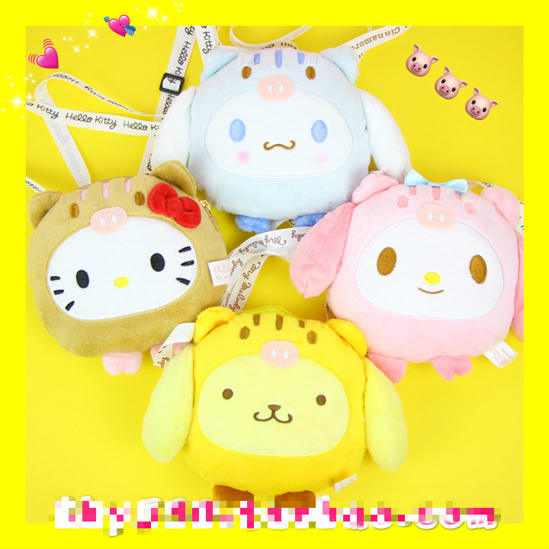 Cartoon Cute Sanrio Hello Kitty My Melody Cinnamoroll Pom PomPurin Plush Messenger Bag Girl Shoulder Purse for Kids Gift