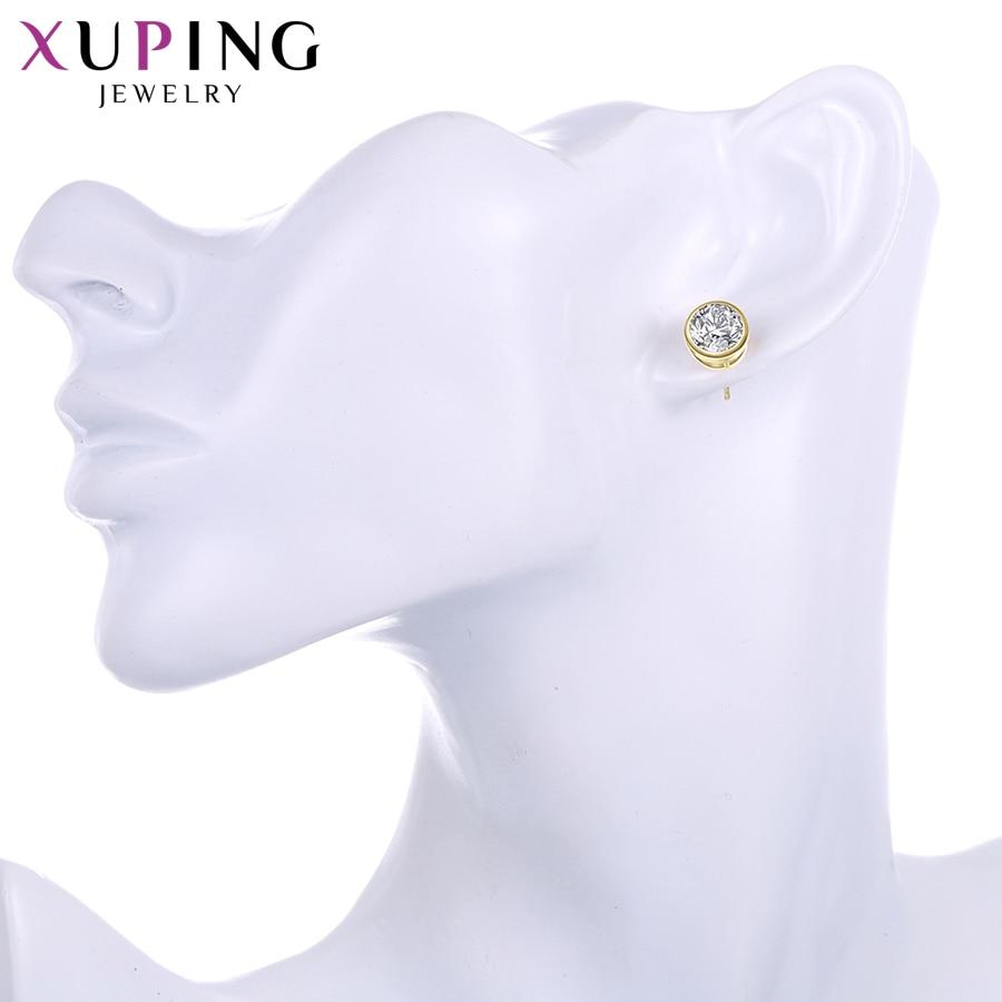 Xuping Elegant Sırğalar Yeni Dizayn Qızıl Rəngli Sintetik kubik - Moda zərgərlik - Fotoqrafiya 6