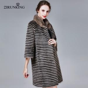 Image 4 - ZIRUNKING Classic Real Mink Fur Coat Female Long Natural Knitted Stripe Parka Autumn Warm Slim Shuba Fashion Clothing ZC1706