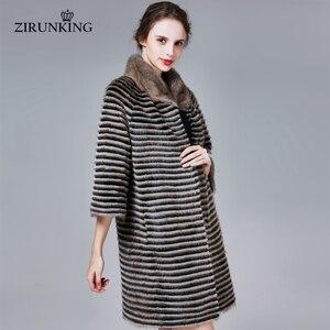 Image 4 - ZIRUNKING קלאסי אמיתי מינק פרווה מעיל נשי ארוך טבעי סרוג פס Parka סתיו חם Slim Shuba אופנה בגדי ZC1706