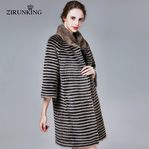 Image 4 - ZIRUNKING abrigo de piel auténtica de visón clásico para mujer, Parka larga de punto Natural a rayas, Otoño, cálido y delgado, ropa de moda, ZC1706