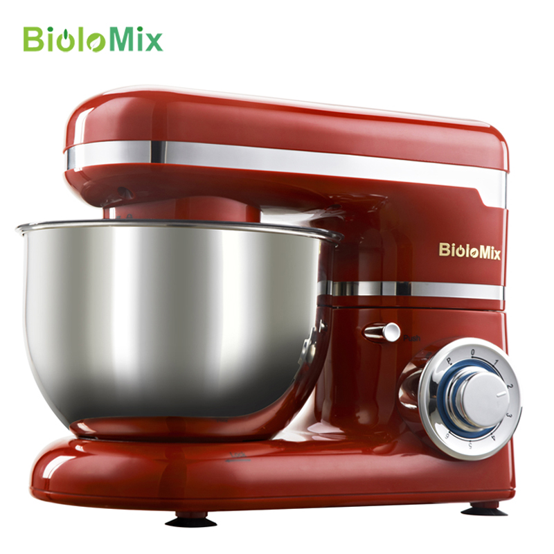 6-speed LED 4L Stainless Steel Bowl 1200W Kitchen Food Stand Mixer Cream Egg Whisk Whip Dough Kneading Mixer Blender Machine