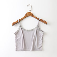 Women Ice Silk Halter Top Summer Casual Ultra Short Thin Camisole Lace Floal Adjustable Strap Bra Bralette Ladies Tank Top(China)