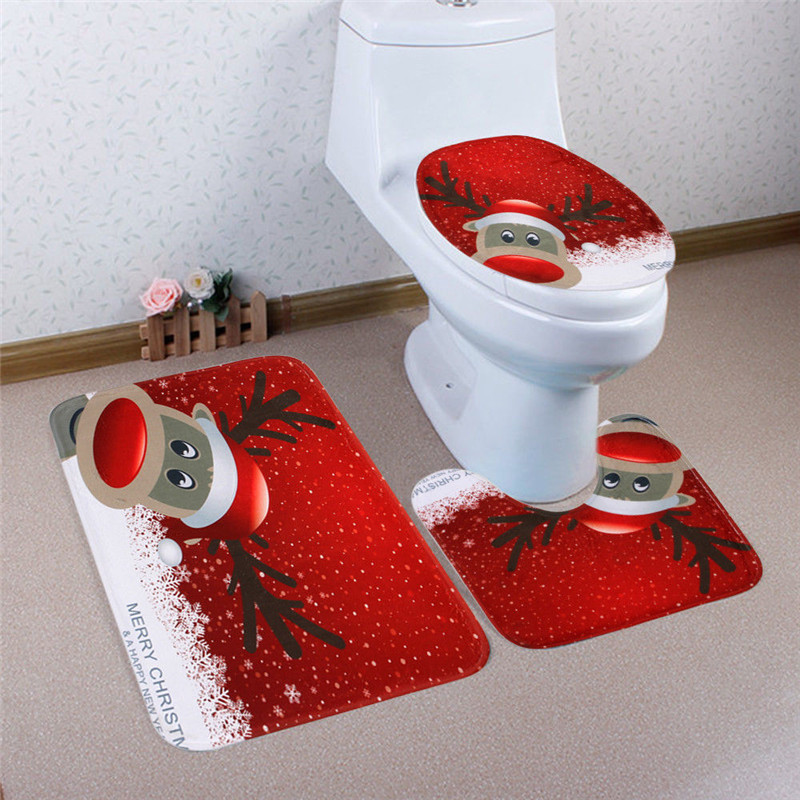 3pcs Fancy Santa Toilet Seat Cover Rug Bathroom Set Christmas Decoration For Home 3 Piece In Covers From