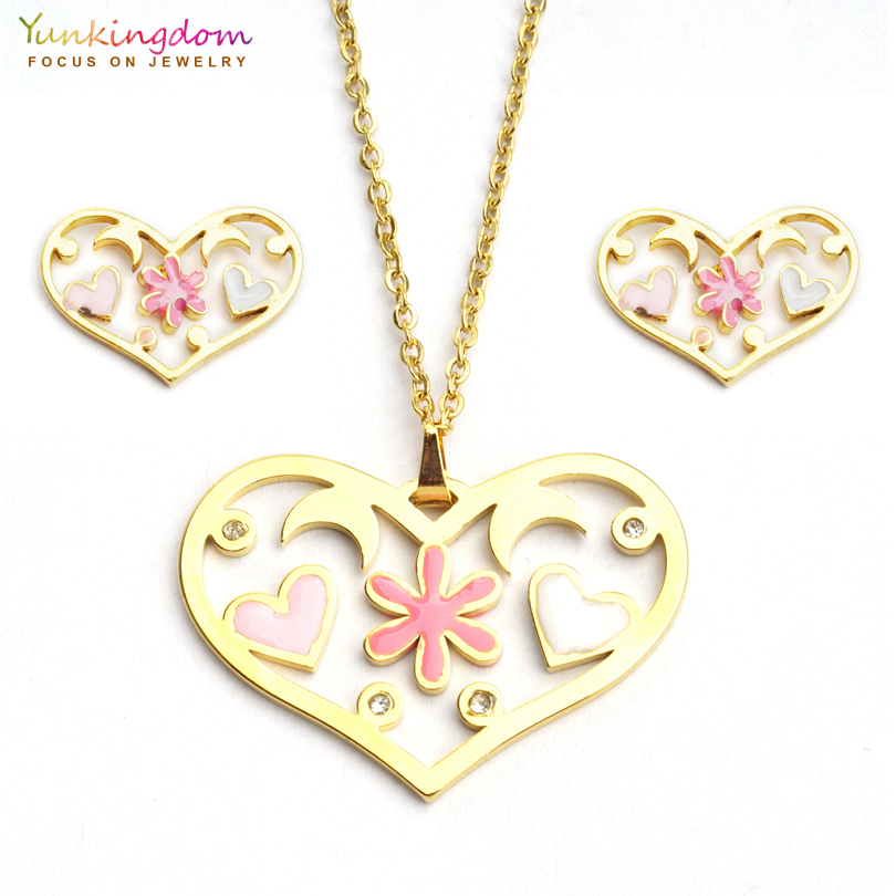 Yunkingdom Jewelry-Sets Necklace Stainless-Steel Pendant Fashion Titanium Heart Pink