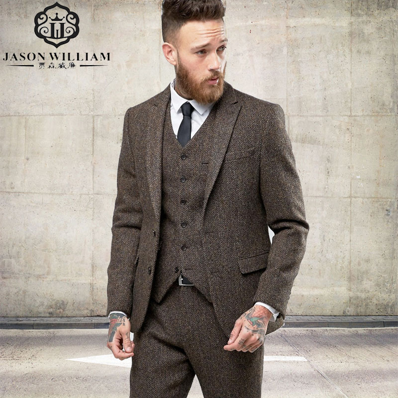 LN125 2017 New Custom Made Tweed Suits Men Formal Skinny Wedding Tuxedo Gentle Modern Blazer 3 Piece Men Suits(Jacket+Pants+Vest