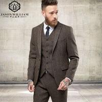 LN125 2017 New Custom Made Tweed Suits Men Formal Skinny Wedding Tuxedo Gentle Modern Blazer 3