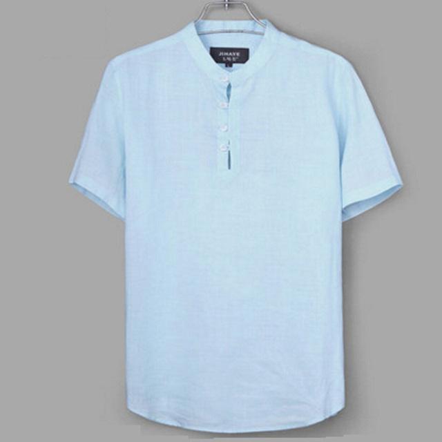 Verão Dos Homens de Negócios Casuais Camisa De Linho de Manga Curta Gola de Algodão Fino Camisas De Linho