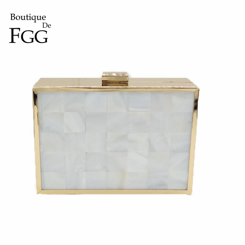Natural Shell White Acrylic Women Evening Box Clutch Bag Hard Case Metal Clutches For Ladies Chain Shoulder Messenger Handbag