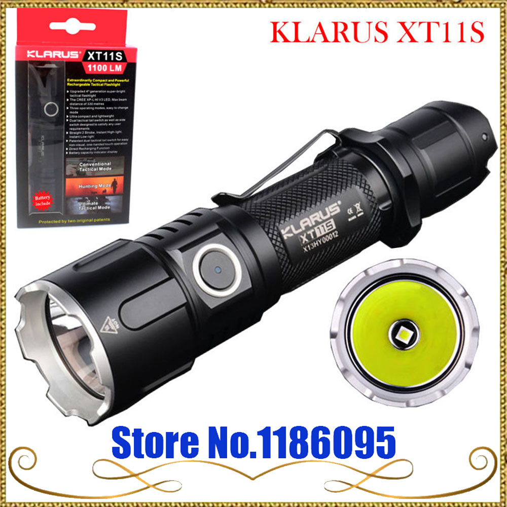 Original KLARUS XT11S CREE XP-L HI V3 LED 1100 Lumens USB Rechargeable Tactical Flashlight with 2600 mAh 18650 Battery tactical flashlight klarus xt11s cree xp l hi v3 led 1100lm beam distance 330 meters outdoor torch with battery charge cable