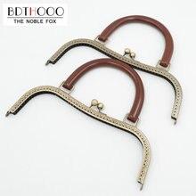 BDTHOOO 27cm Metal Purse Frame Solid Wooden Handle DIY Kiss Clasp Lock for Women Clutch Handmade Handbag Antique Bag Accessories