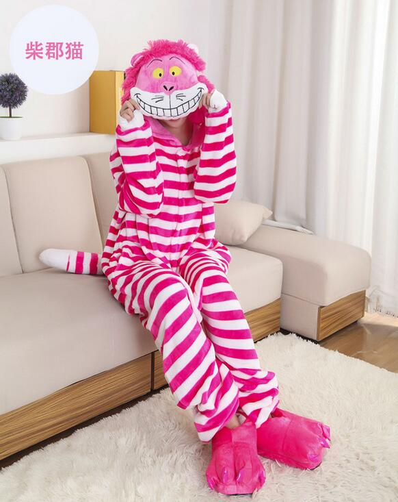 free shipping Onesie Sleepwear Unisex Cheshire Cat Cosplay Costume Animal Pajamas Adult Jumpsuit Cosplay For Party Wear