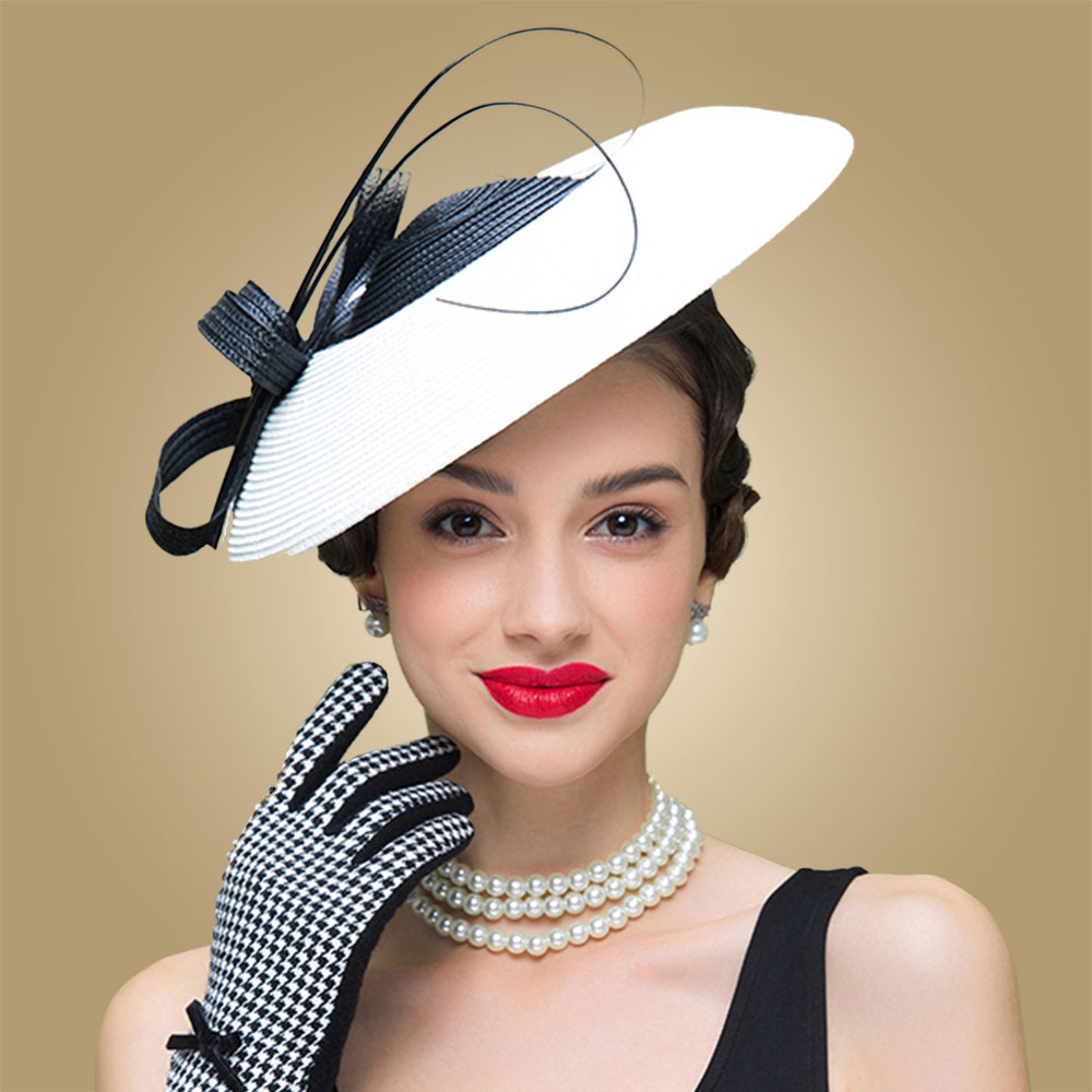 384d7e7441e FS Fascinators Black And White Weddings Pillbox Hat For Women Straw Fedora Vintage  Ladies Church Dress Sinamay Derby Hats