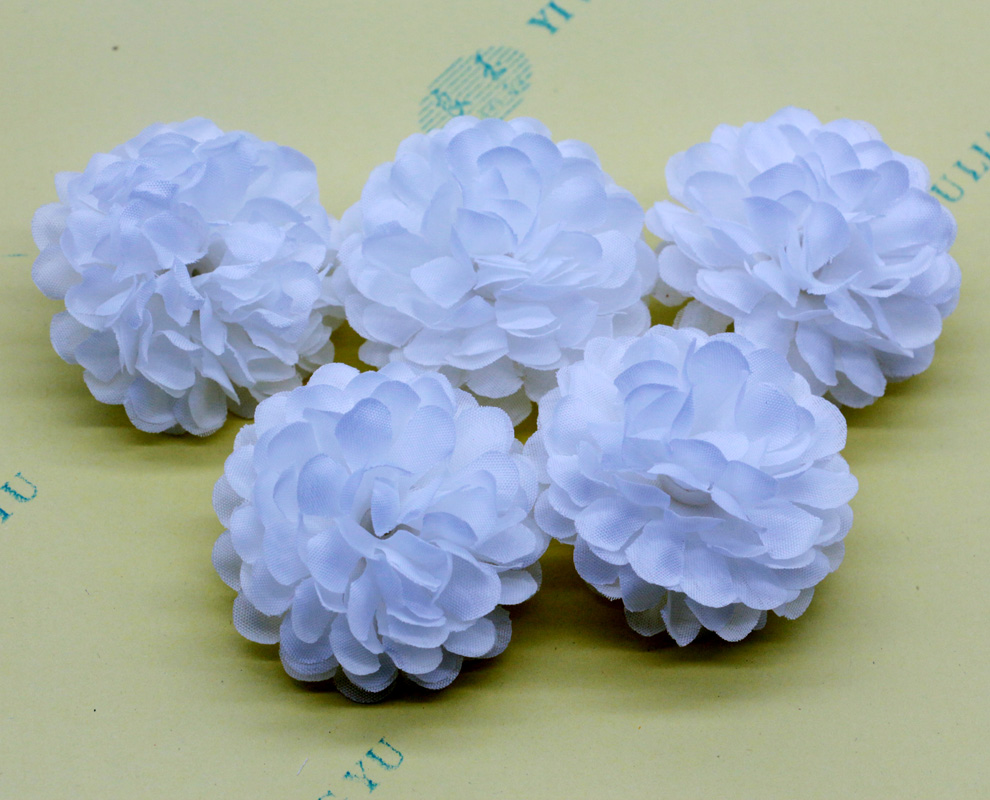 New 50pcslot White Color Small Ball Daisy Artificial Silk Flowers