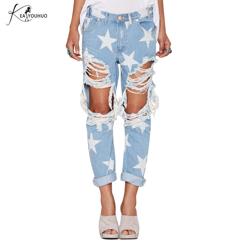 2018 Summer Ripped   Jeans   For Women Stars Printing Straight Hot Casual Pants Loose Ladies Hole Denim   Jeans   Fashion   Jeans   Woman