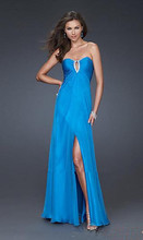 free shipping vestido de festa curto 2014 new design sexy blue long crystal party evening gown Graduation Dresses