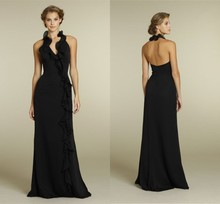 2014 New Arrival  Black Generous Halter Long Drap Floor-Length Chiffon  Backless A-line Dress For Bridesmaid Vestido De Festa
