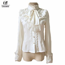 New-Arrival-5-Color-Brown-Red-Blue-Black-White-Long-Sleeve-Princess-Shirt-Gothic-Sweet-Ruffle