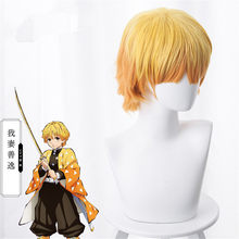 Demon Slayer Cosplay Blade of Demon Destruction Agatsuma Zenitsu Wig Hair Cosplay Costume Props(China)
