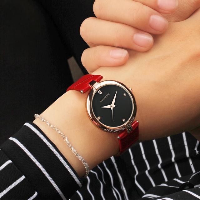 SANDA Women Leather Wrist Watches Diamond Gold Clock