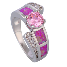 New 2016 Trend Opal rings Pink Morganite Pink Hearth Opal 925 stamp Silver Ring for womens dimension 5 6 7 eight 9 R529