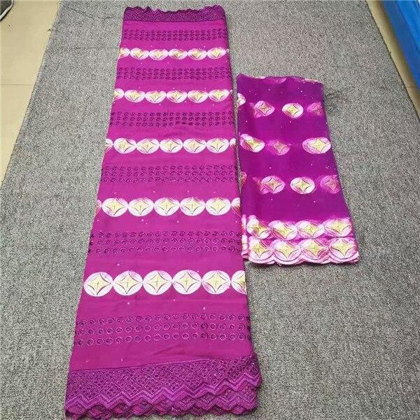 Tissu à la mode de dentelle de coton africain de broderie de partie de magenta avec le tissu net de dentelle de 2y pour coudre NCN10 (5y + 2y)