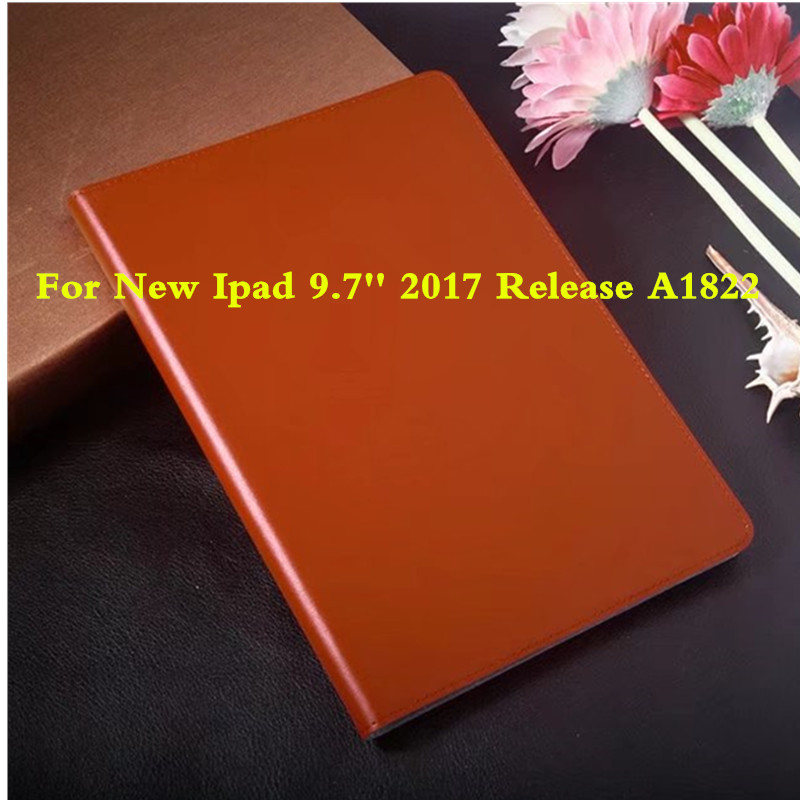 Genuine Leather Case Cover Ultra-Slim Anti-dust Protective Stand Fundas For Apple New iPad 9.7 inch 2017 release A1822 Tablet PC coque fundas for apple ipad air ii 2 pu leather stand luxury new cover case for ipad 6 a1566 a1567 9 7 inch cartton wallet shell