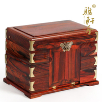 Rosewood wooden jewelry box seven fairies dressing box red wooden wedding treasure wood storage box