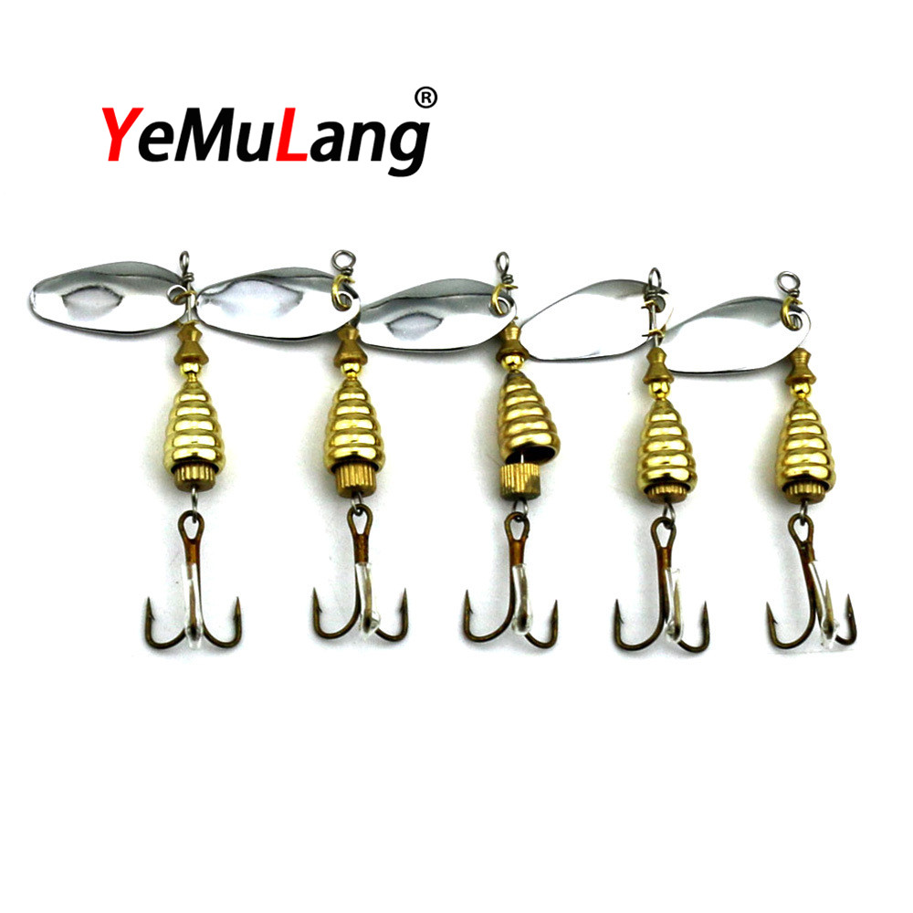 BB755  Spinner Bait Metal Artificial Fishing Lure   Propeller Hard Baits With 6#  Hook Trout Carp