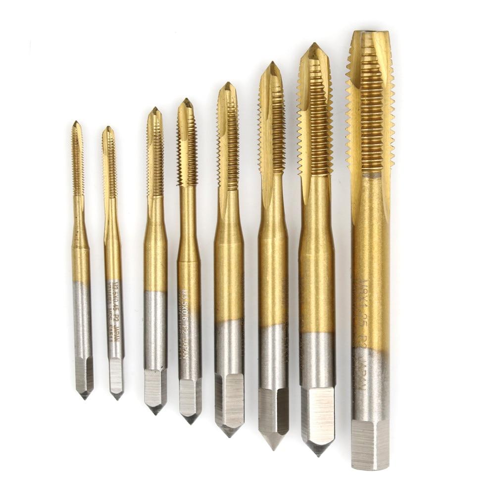M2/M2.5/M3/M3.5/M4/M5/M6/M8 Spiral Point Thread Plug Handle Taps HSS Titanium Machine Right Hand Tap Drill