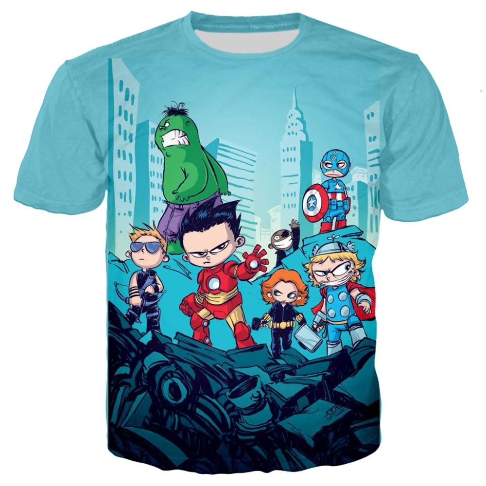Marvel AVENGERS Shirt Boys S  M  L  XL  IRONMAN Thor SPIDERMAN Capt America HULK