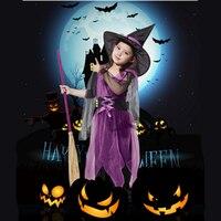 Halloween Trang Phục Cô Gái Đen Fly Trang Phục Phù Thủy Áo và Hat Cap Party Cosplay Quần Áo cho Trẻ Em Gái Trẻ Em Miễn Phí vận chuyển