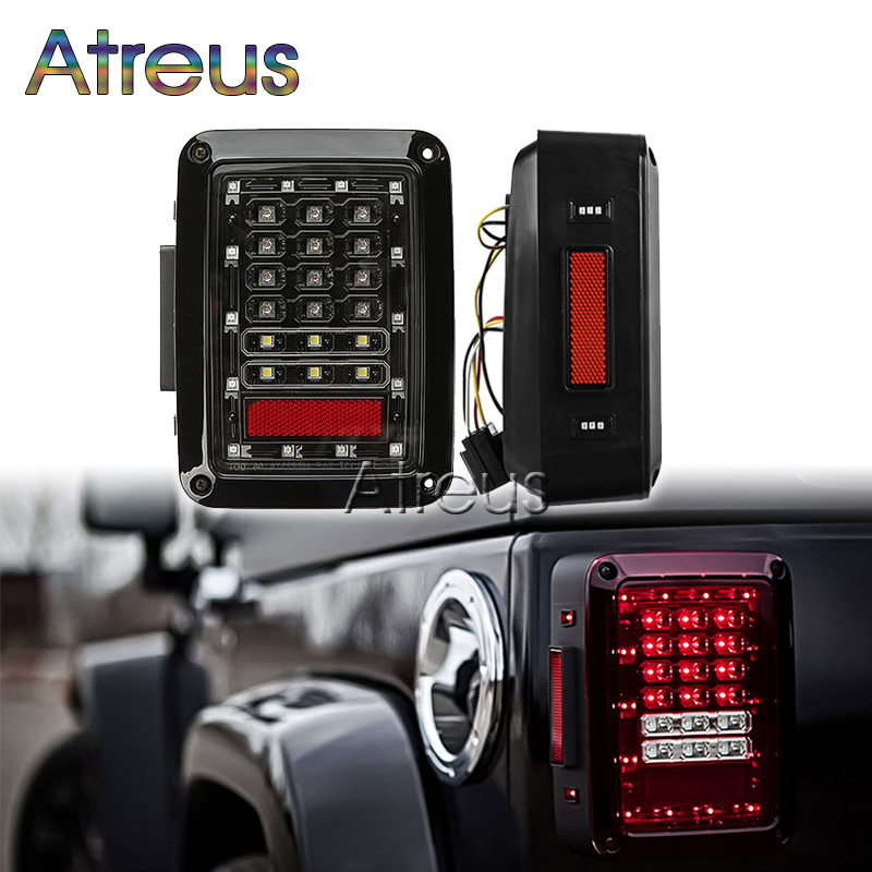 Atreus 1Pair Car LED Tail light Brake Lights 12V 24V For Jeep Wrangler accessories USA/EU Reverse Light Signal Lamp Assembly car styling tail lights for toyota highlander 2015 led tail lamp rear trunk lamp cover drl signal brake reverse
