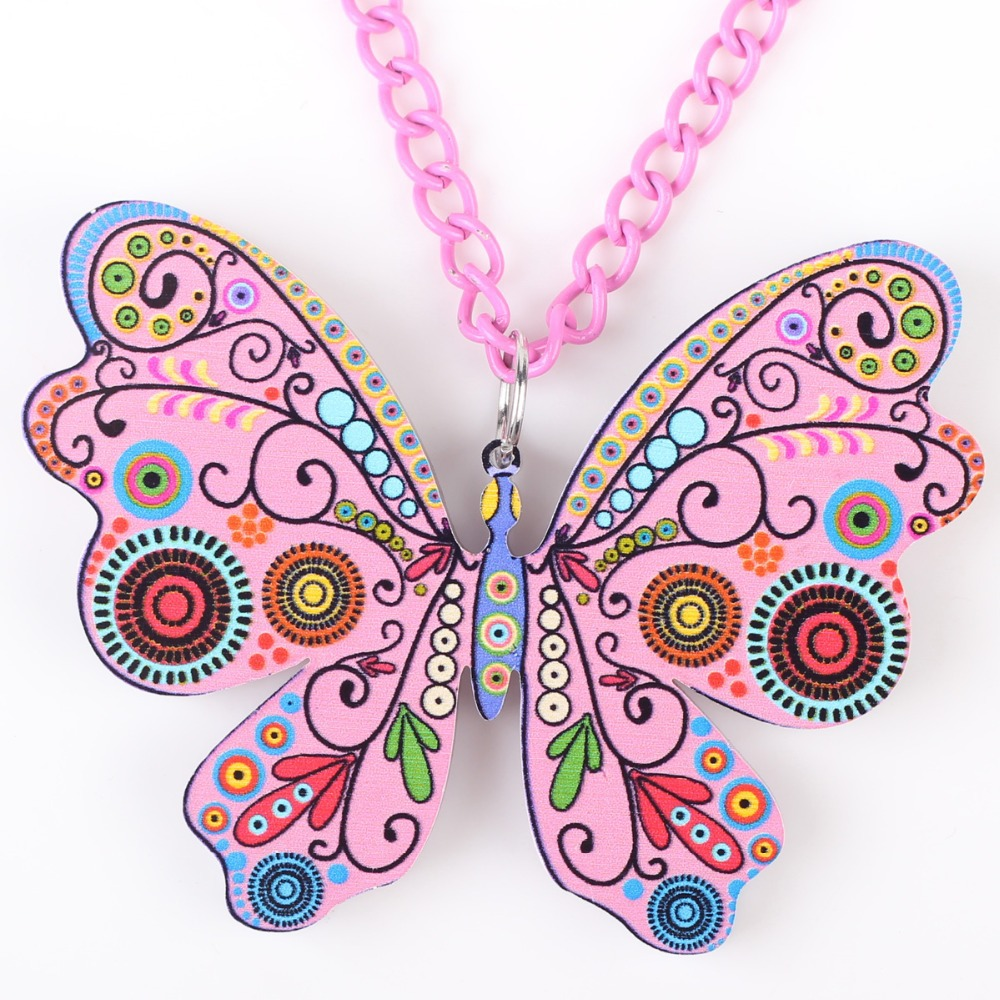 Bonsny papillon collier pendentif long motif acrylique chaud - Bijoux fantaisie - Photo 2