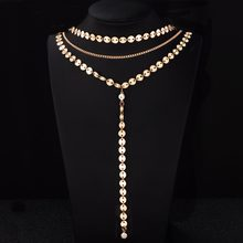 Sexy Multilayer Sequins Rhinestone coin Tassel Pendants Chain Necklace Choker Collar Women Jewelry 2018 new necklace for women(China)