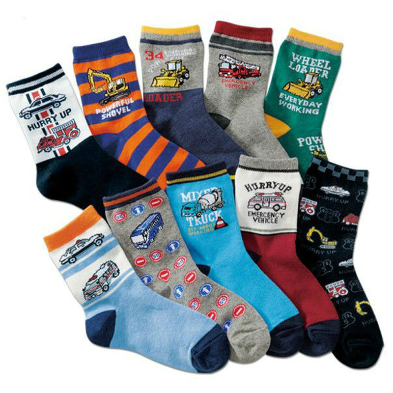 10 Pairs / Lot Children Boys Socks Autumn Winter Brand Cotton Cartoon Car Dinosaur Style Hot Kids Sokcs 4-16 Year Girls Socks 1