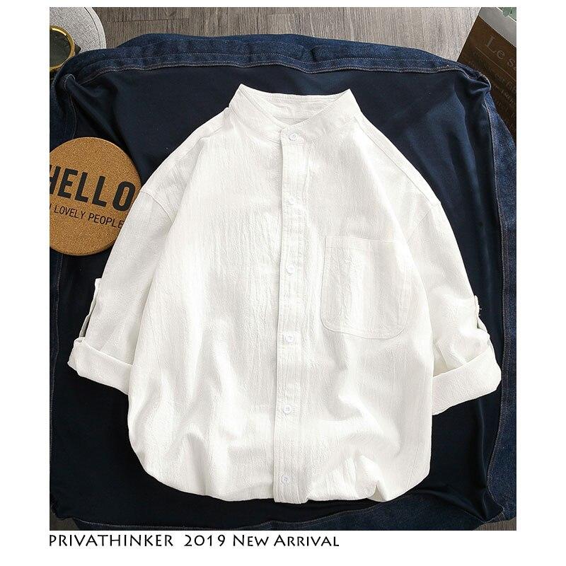 Privathinker Men Harajuku Streetwear Casual Shirts 2019 Mens Summer Cotton Linen Shirt Male Korean Solid Shirt Fashions Oversize