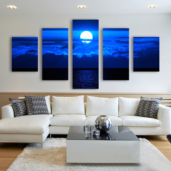 Modular Pictures HD Printed Canvas Frame Painting Home Wall Art Decor 5 Panels Blue Seas Of Clouds Moon Landscape Poster PENGDA no frame canvas