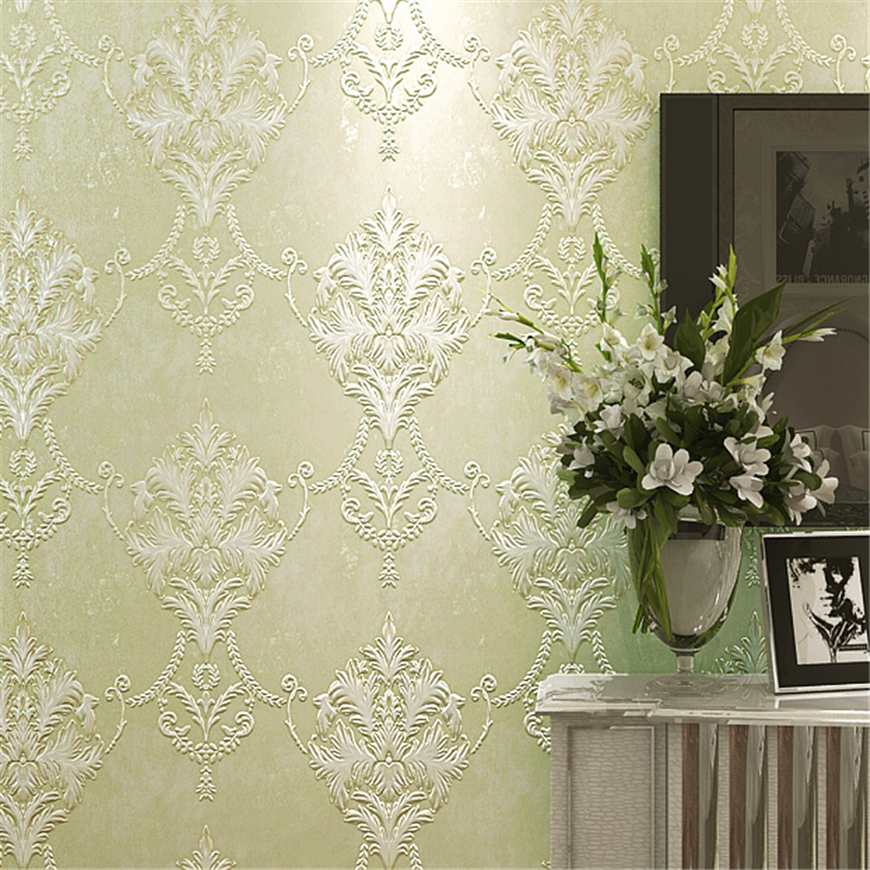 beibehang elegant simple European wallpaper non-woven fabric thick 3D relief bedroom wallpaper living room sofa background wall beibehang fabric european   style