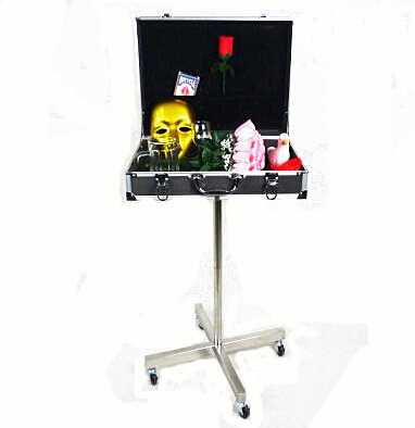 Fine boîte en aluminium noir Table magique (type de rouleau stents en acier inoxydable) tours de magie accessoires de scène de magicien accessoires de Gimmick