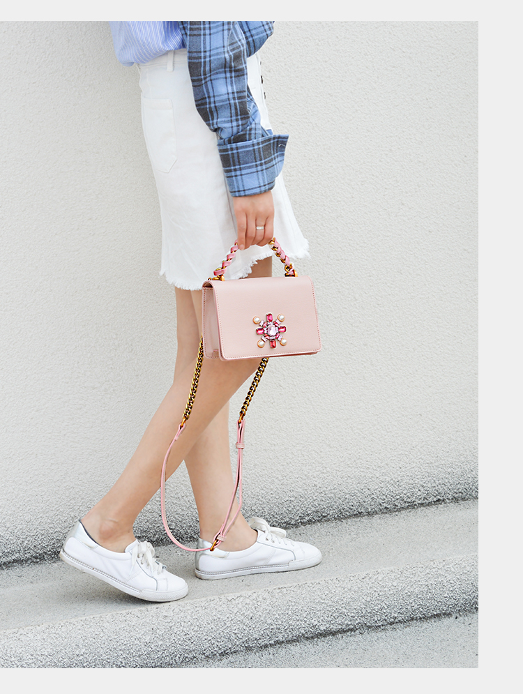 2019 Women Mini Handbags Lady Genuine Leather Woman Diamonds Pink Handbag Messenger Bags Knitting Chains Party Bag2019 Women Mini Handbags Lady Genuine Leather Woman Diamonds Pink Handbag Messenger Bags Knitting Chains Party Bag