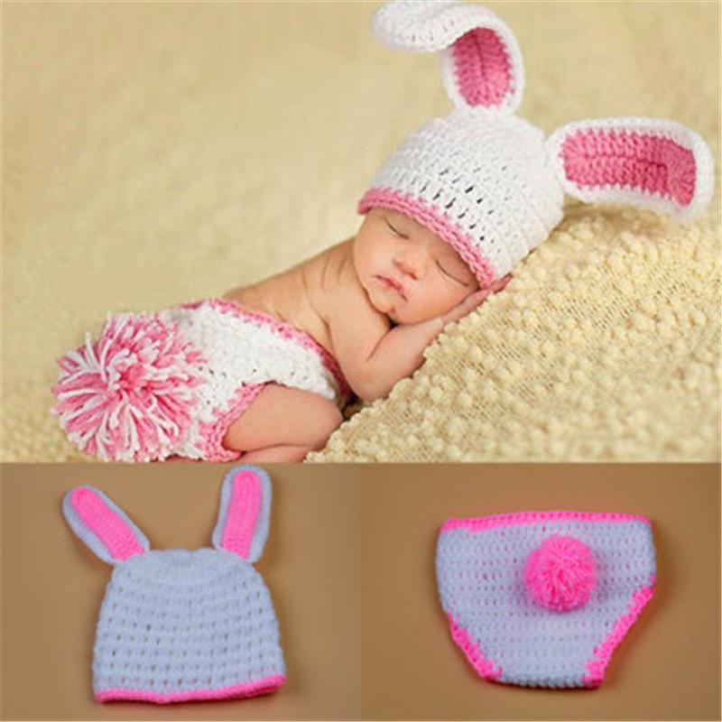 Crochet Rabbit props for newborn knitted infant clothes baby photography costume