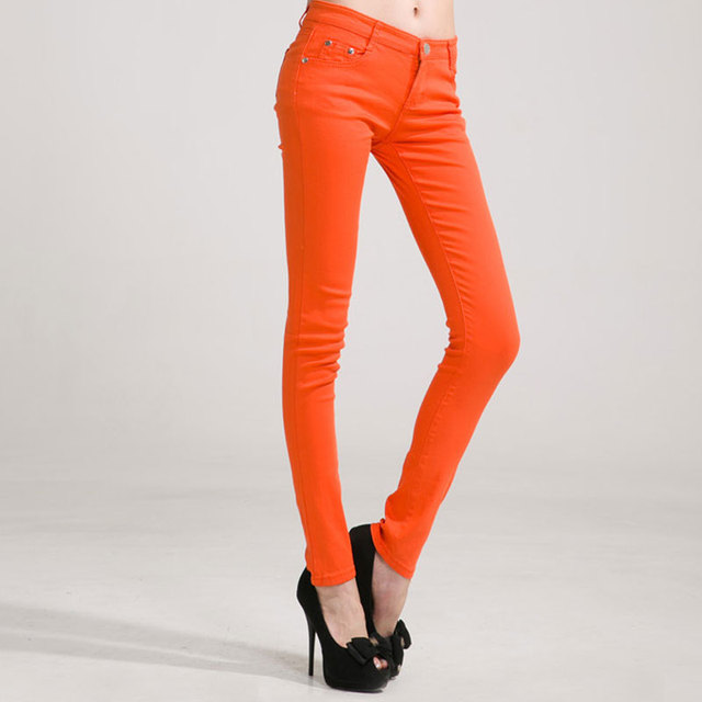 Mid Waist Full Length Slim Fit Jeans 17 Colors