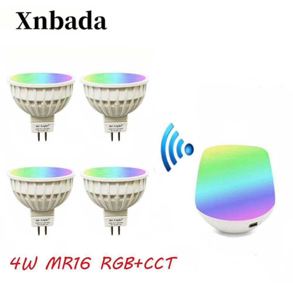 MiLight Led Lamp 4W RGB+CCT led bulb+IBX1 RF Remote Wifi Led Spotlight light Dimmable Led light AC12/DC12V Free shipping
