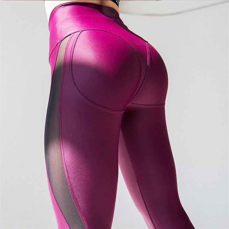 Las mujeres Spandex Leggings aptitud elásticos Legging pantalones de malla Patchwork moda mujer rosa polainas Plus tamaño