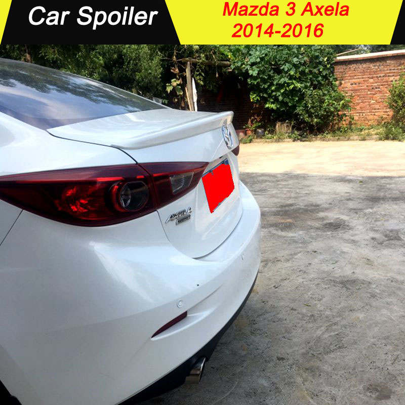 Hot ABS Plastic Rear Trunk Wing <font><b>Spoiler</b></font> Car Accessories Fit For <font><b>Mazda</b></font> 3 Axela Sedan 4Doors 2014 2015 2016 2017 image
