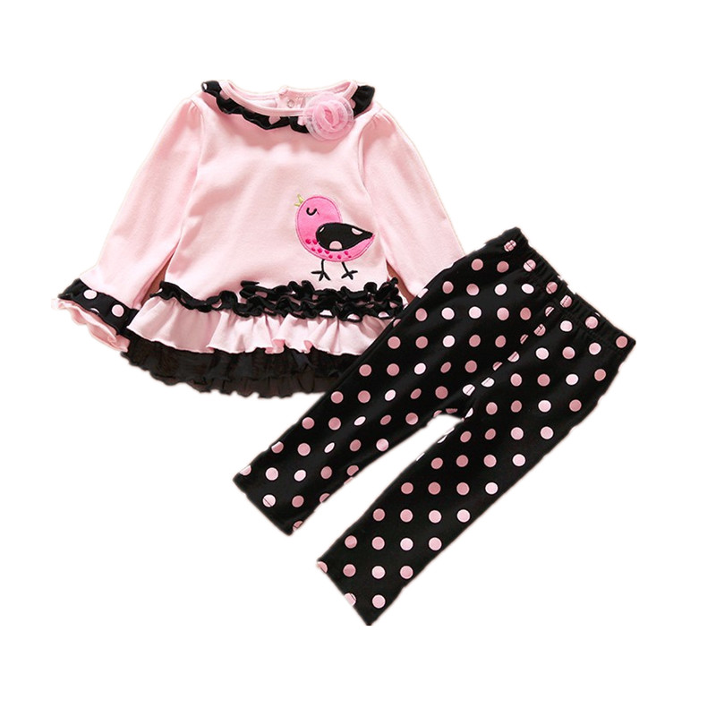 2016 Baby Girl Clothes Set Sweet T-shirt Dress & Pants 2 PCS Polka Dot Suit Kids Girls Spring Autumn Princess Clothing