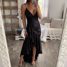 Sexy ruffle long dress women Spaghetti strap wrap sashes satin autumn plus size dress Vintage mermaid party dress festa spaghetti strap satin wrap dress